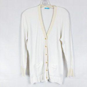 J. McLaughlin | White Ribbed Cardigan Sweater